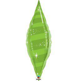 38 inch-es Limezöld - Taper Swirl Lime Green Héliumos Fólia Lufi