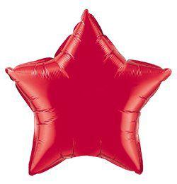 4 inch-es Rubinvörös - Ruby Red Csillag Fólia Lufi Pálcán