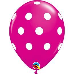 11 inch-es Big Polka Dots Wild Berry Pöttyös Lufi (50 db/csomag)