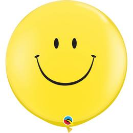 3 feet-es Smile Face Yellow (Standard) Kerek Latex Lufi (2 db/csomag)