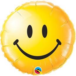 18 inch-es Sárga Mosolygós Arc - Smile Face Yellow Héliumos Fólia Lufi