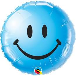 18 inch-es Kék Mosolygós Arc - Smile Face Blue Héliumos Fólia Lufi