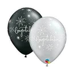 11 inch-es Congratulations Elegant Black és Silver Lufi (25 db/csomag)