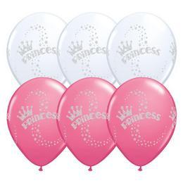 Hercegnős Lufi - Fehér és Rózsaszín, 28 cm, 6 db