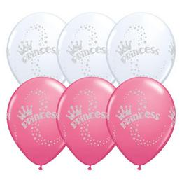 11 inch-es Glitter Princess - Hercegnős White és Rose Lufi (25 db/csomag)