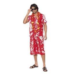 Piros Virágmintás Hawaii Férfi Farsangi Jelmez, M-es