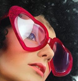 Nagy Szív Alakú Szemüveg - Piros Csillámos