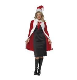 Karácsonyi Köpeny És Sapka Hölgyeknek - Piros-Fehér