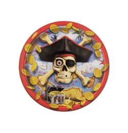 Pirate Bounty - Kalóz Parti Tányér - 18 cm, 8 db-os
