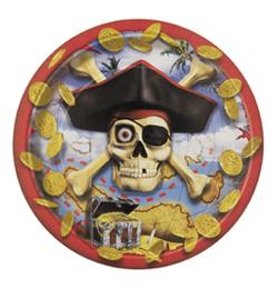 Pirate Bounty - Kalóz Parti Tányér - 23 cm, 8 db-os