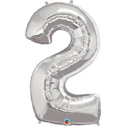 34 inch-es Number 2 Silver - Ezüst Számos Héliumos Fólia Lufi