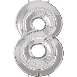 34 inch-es Number 8 Silver - Ezüst Számos Héliumos Fólia Lufi