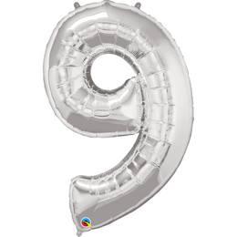 34 inch-es Number 9 Silver - Ezüst Számos Héliumos Fólia Lufi