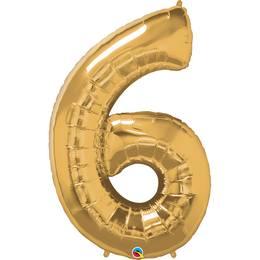 34 inch-es Number 6 Gold - Arany Számos Héliumos Fólia Lufi