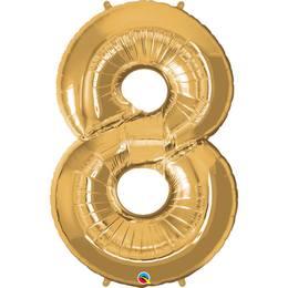 34 inch-es Number 8 Gold - Arany Számos Héliumos Fólia Lufi