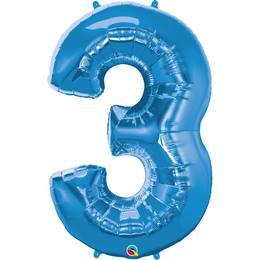 34 inch-es Number 3 Sapphire Blue - Zafírkék Számos Héliumos Fólia Lufi