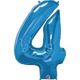 34 inch-es Number 4 Sapphire Blue - Zafírkék Számos Héliumos Fólia Lufi