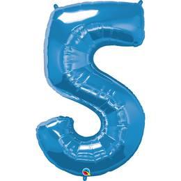 34 inch-es Number 5 Sapphire Blue - Zafírkék Számos Héliumos Fólia Lufi