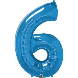34 inch-es Number 6 Sapphire Blue - Zafírkék Számos Héliumos Fólia Lufi