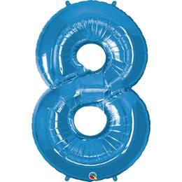 34 inch-es Number 8 Sapphire Blue - Zafírkék Számos Héliumos Fólia Lufi