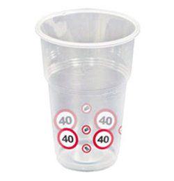 40-es Sebességkorlátozó Számos Szülinapi Műanyag Parti Pohár - 350 ml, 10 db-os