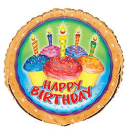 18 inch-es Cupcake Birthday - Sütis Szülinapi Héliumos Fólia Lufi