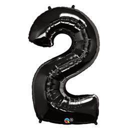 34 inch-es Number 2 Onyx Black - Ónix Fekete Számos Héliumos Fólia Lufi