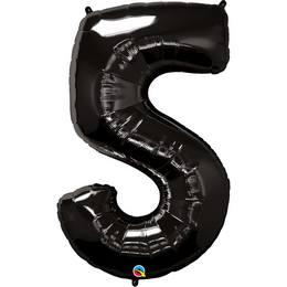 Fekete 5-ös Szám Héliumos Fólia Lufi, 86 cm