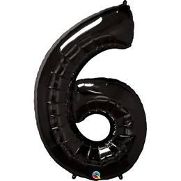 Fekete 6-os Szám Héliumos Fólia Lufi, 86 cm