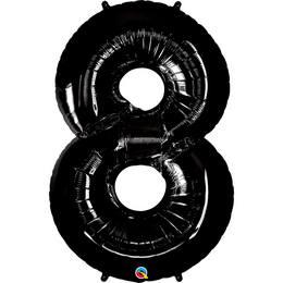 Fekete 8-as Szám Héliumos Fólia Lufi, 86 cm