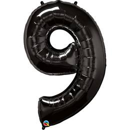 Fekete 9-es Szám Héliumos Fólia Lufi, 86 cm