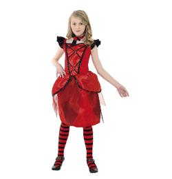 Piros-Fekete Vámpírnő Farsangi Jelmez Tini lányoknak, S-es