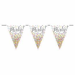 Party! - Feliratos Csillag és Pöttyös Mintás Zászlófüzér - 6 m