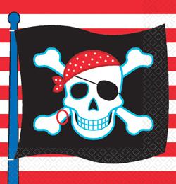 Kalóz (Pirate) Parti Szalvéta - 33 cm x 33 cm, 16 db-os