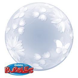 Pillangós Virágos Deco Bubble Léggömb, 51 cm