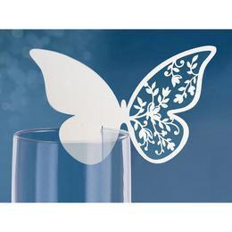 Pillangós Virágos Pohárjelölő Kártya - 10 db-os