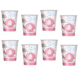 Pink Baby Shower - Bébielefánt Mintás Parti Pohár Babaszületésre - 270 ml, 8 db-os