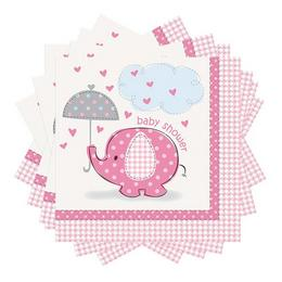 Pink Bébielefánt Mintás Szalvéta Babaszületésre, 33x33 cm, 16 db
