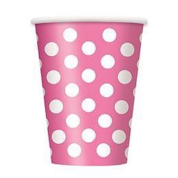 Pink-Fehér Pöttyös Parti Pohár - 270 ml, 6 db-os