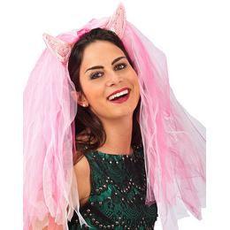 Pink Ördögszarv Fátyollal Lánybúcsúra