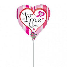 9 inch-es Pink Stripes I Love You Mini Shape Fólia