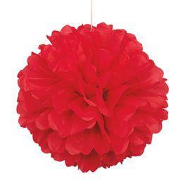 Piros Bolyhos Függő Dekoráció - 41 cm