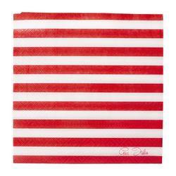 Piros-Fehér Csíkos Papír Parti Szalvéta - 20 db-os, 33 cm x 33 cm