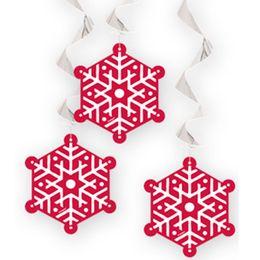 Piros Fehér Hópelyhes Függő Dekoráció, 3 db-os