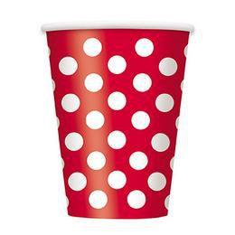 Piros-Fehér Pöttyös Parti Pohár - 270 ml, 6 db-os