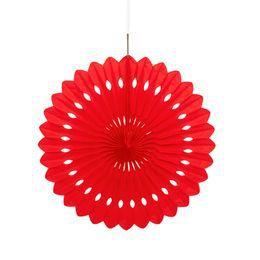 Piros Színű Legyező Függő Dekoráció - 41 cm-es