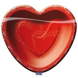 Piros Szív Formájú Parti Tányér - 21 cm x 20 cm, 8 db-os