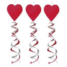 Piros Szív Spirális Függő Dekoráció - 3 db-os
