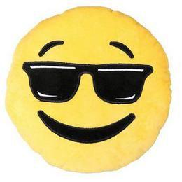 Plüss Emoji Párna - Cool Smile, 45 cm