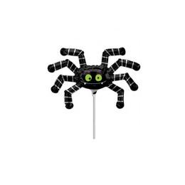 Pók - Striped Spider Levegős Fólia Lufi Pálcán, 23 cm